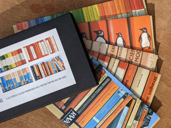 Gift Box No.4: Pick of the Penguins - Five Art Cards from original bookshelf paintings